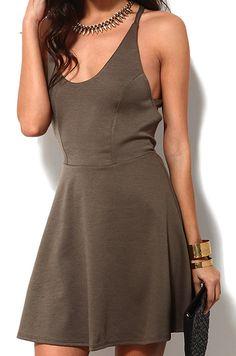 Sexy Round Neck Sleeveless Vest Dress