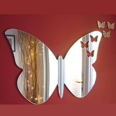 Butterflies Out of Butterfly Mirror Butterfly Bathroom Decor Butterfly Bathroom, Butterfly Nursery, Butterfly Wall Art, Butterfly Cutout, Shabby Chic Pink, Mirrored Furniture, Little Girl Rooms, Decoration, Chandeliers