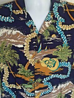 Hawaiian Shirt XXL Ukulele Lei Jeep Woodie Car Surfboard Sailboat Surf Palm Tree #TropicalAttitudesGear #Hawaiian
