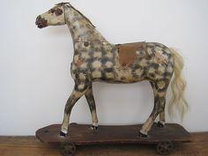 19th Century WONDERFUL Original Paint WOOD PULL TOY HORSE Original Iron Wheels