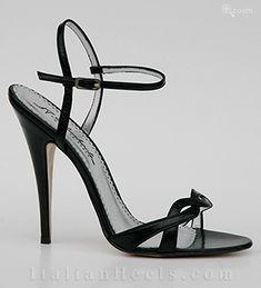 ItalianHeels.com: sandals: Dorotea 1704 - 4 1/2'  stiletto Black Sandals
