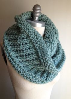 Low Tide Pure Wool XL Chunky Cape Infinity Scarf Light by MrsKnits