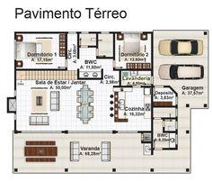 """Casa """"Jurerê"""" para terreno de praia ou campo com 4 quartos - Plantas de Casas"""