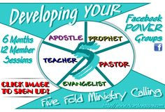 Developing YOUR Five Fold Ministry Facebook Group ****WILL BE RE-OPENING AND RELAUNCHING MONDAY MARCH 28TH, 2016!!! SO SIGN UP IN ADVANCE BECAUSE I AM ONLY TAKING ON AND TRAINING 24 EMERGING LEADER…