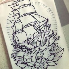 Octopus Ship Tattoo Design Idea