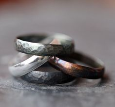 Stacking Rings Patina Set of Four Black by ClaudetteTreasures