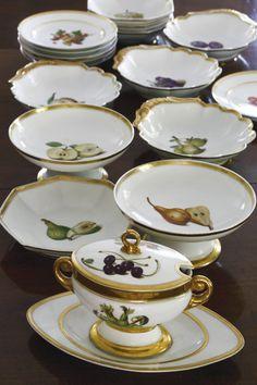 A Paris porcelain part dinner service circa1806-1816. Lefebvre rue amelot no 64 a Paris marks in script to most. 41 pieces.