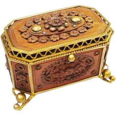 Antique French Jeweled Wood Craved Casket Hinged Box 'EXQUISITE'