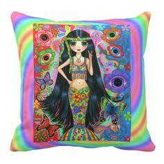 Funky Psychedelic Hippie Mermaid Girl Peace Sign Pillow