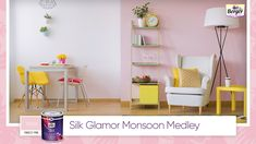 With the onset of the monsoon season, dreary greys now cover the sky and cloud the sunlight. Bathe your rooms in bright pastel colours that take away the heaviness of the monsoon skies and bring some much-needed cheer to the room. Opt for this combo of pink-and-white and offset it with some yellow accent pieces. Share your monsoon home décor ideas with us using #SilkGlamorMonsoonMedley. #BergerPaints #PaintYourImagination