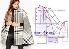 Analise a transformação do molde casaco capa xadrez que proponho nesta publicação com a devida atenção. No blogue existem bases de casaco larga,
