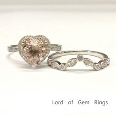 8mm Heart Shape Morganite Diamond Halo Ring Set Solid 14K White Gold Curved Band #LOGR