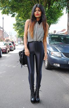 42 Leggins That Make You Look Fabulous - Global Outfit Experts Uk Fashion, Fashion Outfits, Fashion Design, Disco Pants Outfit, 50 Shades Of Grey, Jeffrey Campbell, American Apparel, Latest Fashion Trends, Alexander Wang