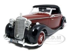 1950 Mercedes 170s Cabriolet Burgundy/black Diecast Car Model 1/18 Die Cast Car By Signature Models