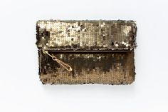 BRONZE Sequin Fold Clutch. Gold Sequin Clutch. Holiday Clutch on Etsy, $74.00