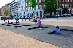 Trampoline on the sidewalk, Copenhagen