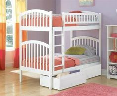 Richmond Bunk Bed Twin Over Twin w 2 Flat Drawers in a White