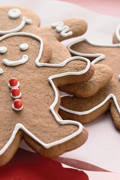 Gingerbread Cookies Recipe  -  This molasses-dark, ginger-and-spice flavored cookie is perfect for gingerbread men. We roll it a bit thicker than usual, to give the cookies just a hint of chew.