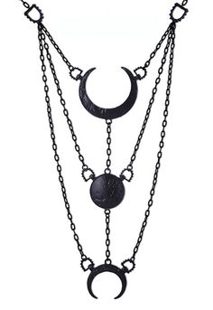 Black Moon Phases Pendant Necklace Full Crescent Luna Necklace presents moon phases carved in alloy with strong texture. All connected with long chain. Moon jewellery in matte black color. It will loo