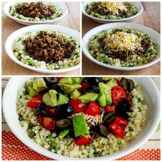 Low-Carb Ground Beef Cauliflower Rice Taco Bowls found on KalynsKitchen.com