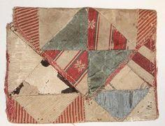 Antique rare textile quilt 1700's 18th century patchwork stitched wallet purse