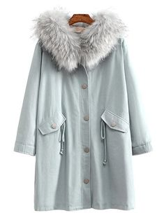 Plus Size Casual Women Fur Collar Hooded Fleece Coats