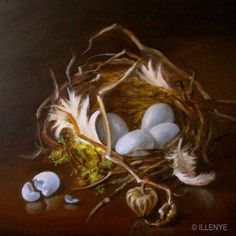 "Jeanne Illenye | OIL | ""Nest with Moss, Feathers, Blue Cracked Egg, Wild Sand Cherry Seed Pod"""