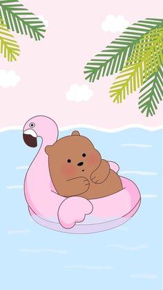 Chillin in the summer we bare bears Cute Panda Wallpaper, Cartoon Wallpaper Iphone, Bear Wallpaper, Cute Disney Wallpaper, Kawaii Wallpaper, We Bare Bears Wallpapers, Panda Wallpapers, Cute Cartoon Wallpapers, Scrapbooking Image