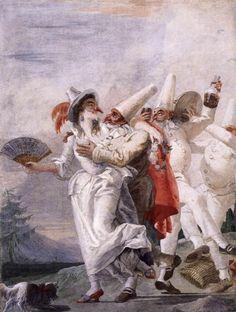 Tiepolo, Giovanni Domenico - Pulcinella in Love -  Fresco -  Ca' Rezzonico - Museo del Settecento Veneziano - Venice.