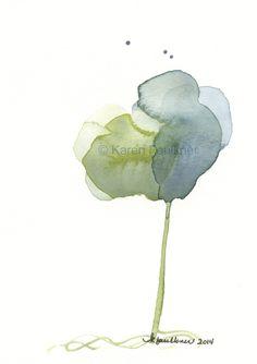 """Indigo and olive green abstract watercolor flower instant digital 300 dpi jpeg download """"Olive Loves Indigo"""" by karenfaulknerart on Etsy"""