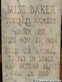 Miss Baker grave marker.