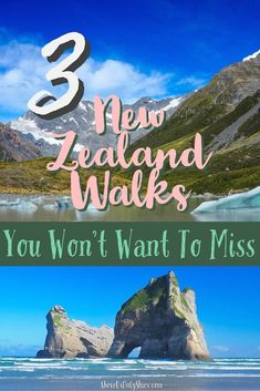 In a land blessed with sublime scenery, here are three New Zealand walks that can be done in a day - including the Hooker Valley Track, Wharariki Beach and Rob Roy Glacier Track #NewZealandhikes #DayHikesNewZealand #CouplesTravel #WalksinNewZealand #HookerValley #RobRoyGlacier