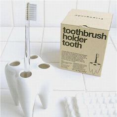 Ha! This toothbrush holder is neat, clean accessories, home decor, space for four, bathroom decor