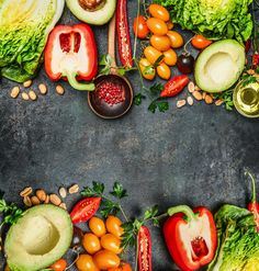 Fresh Colorful Vegetables Ingredients For Tasty Vegan And Healthy Cooking Or Salad Making On Rustic Background, Top View, Frame. Stock Image - Image of background, natural: 60949937 Raw Food Recipes, Diet Recipes, Healthy Recipes, Recipies, Colorful Vegetables, Fresh Vegetables, Bright Cellars, Healthy Cooking, Healthy Eating