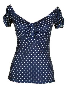 """Women's+""""Off+the+Shoulder""""+Shirred+Top+by+Pinky+Pinups+(Blue/White)"""