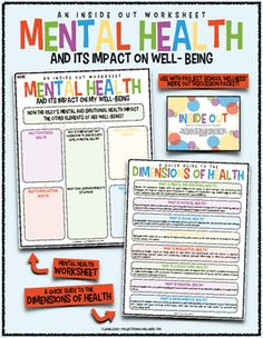 Inside Out Worksheet: Mental Health & Well-Being (Inside Out Lesson Plans) Health And Physical Education, Health Class, Mental And Emotional Health, Health Lesson Plans, Health Lessons, Tools For Teaching, Nutrition, Living At Home, School Counselor