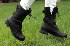 Great ideas for how to wear combat boots besides the typical jeans and shirt!