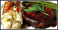 SANDRA'S ALASKA RECIPES: SANDRA'S GRILLED LOBSTER TAILS with CITRUS BUTTER , FILLET MIGNON and ASPARAGUS