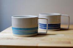 Light Blue and White Ceramic Mug with handle, Stoneware Handthrown Mug for tea and breakfast Latte Cups, Tea Cups, Stoneware Clay, Ceramic Mugs, Pottery Mugs, Safe Food, White Ceramics, Blue And White, Breakfast