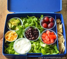 My kids love this idea for taking a taco salad to school for lunch! They can assemble it when they get there! www.superhealthykids.com