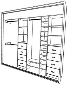 built in wardrobe storage layout for one wall