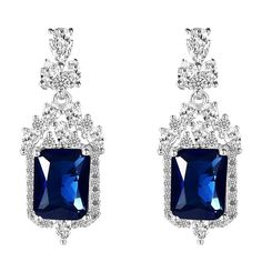 Bridal Luxury Boxed Gift Blue Sapphire AAA Cubic Zirconia Rhodium Plated Dangle Earring