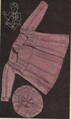 PDF Knitting Pattern, 3Ply, Baby Pram Set, Coat, Leggings, Beret