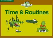 Practice Daily Routines and Telling the Time with this  ESL Vocabulary and Grammar Interactive Crocodile  Board Game for Beginners (quarter to, half past, o'clock  etc). ESL Learners and Teachers can use it to review English vocabulary and grammar or simply practice these words.