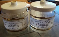 Vintage Old Glass Pyrex The Cookie Jar Cracker Barrel Clear Canister Gold Retro #pyrex