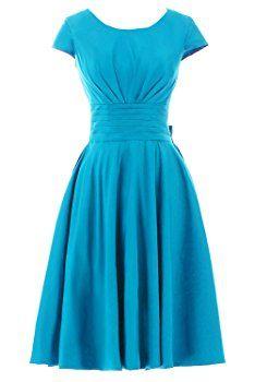Sunvary Short Sleeves Bridesmaid Dress Evening Pageant Dress Short Size 4-Blue