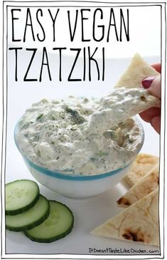 This quick and easy vegan tzatziki is made using easy to find ingredients and ta. This quick and easy vegan tzatziki is made using easy to find ingredients and takes just 10 minutes to make. Perfect for dairy-free Greek recipes. Vegan Sauces, Vegan Foods, Vegan Dishes, Vegan Meals, Vegan Meal Plans, Vegan Lunches, Dairy Free Greek Recipes, Dairy Free Dips, Dairy Free Salads