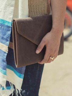 Tigist Leather Envelope Clutch | fashionABLE