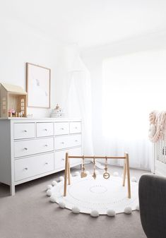 Modern, white and light nursery with our heirloom quality wooden play gym. This baby gym makes a perfect gift and is safety certified! Baby Bedroom, Baby Boy Rooms, Kids Bedroom, Kid Rooms, Unisex Baby Room, Living Rooms, Bedroom Ideas, Play Gym, Nursery Furniture