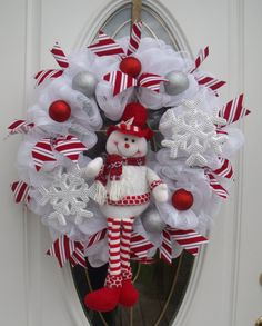 Snowman Mesh Wreath Christmas Wreath Door by MeshWreathsnMore